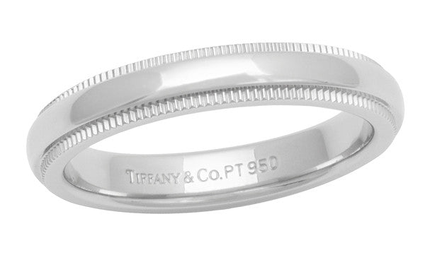 adf5886aa Size 4.5 Tiffany and Co. Platinum Milgrain Wedding Band Ring 3mm Wide |  Like New | Retail $1350