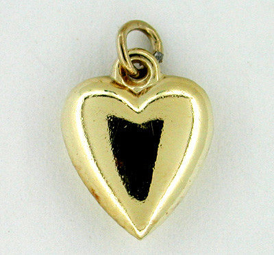 Puffed Heart Charm in 14 Karat Gold