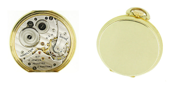 Hamilton Open Face Gold Filled Pocket Watch - 10 Size - Item: PW102 - Image: 1