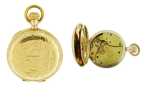 American Waltham Ladies 0 Size Pocket Watch in 14 Karat Gold Hunter Case - Item: PW103 - Image: 1