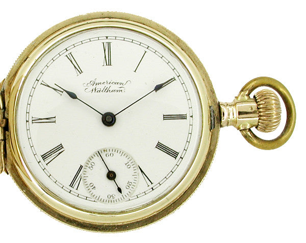 American Waltham Ladies 0 Size Pocket Watch in 14 Karat Gold Hunter Case