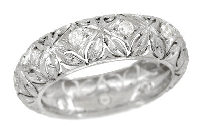 Art Deco Taftville Diamond Vintage Eternity Band in Platinum in Ring Size 5 1/4