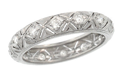 Art Deco Geometric Diamond Set Antique Heirloom Wedding Band in Platinum - Size 5 1/2