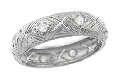 Diamond Kisses Brooksvale Art Deco Antique Wide Wedding Band in Platinum - Size 5.5