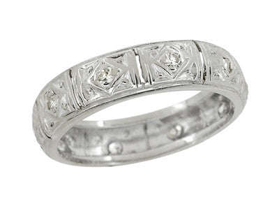 art deco fenwick diamond antique wedding ring in platinum size 6 - Antique Wedding Ring