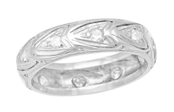 Art Deco Filigree Hearts Vintage Platinum and Diamond Heirloom Wedding Band - Size 6