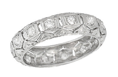 Vernon Art Deco Vintage Eternity Diamond Wedding Band in Platinum - Size 6