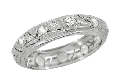 Art Deco Ellington Vintage Diamond Wedding Band in Platinum - Size 6