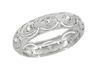 Art Deco Filigree Scallop Ovals and Diamonds Antique Wedding Ring in Platinum - Size 6