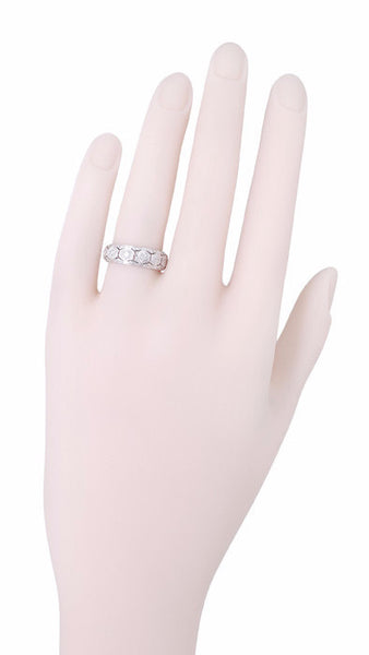 Art Deco Jordan Filigree Antique Diamond Wedding Band in Platinum - Size 6.25 - Item: R1016 - Image: 1