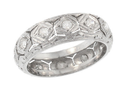 Art Deco Jordan Filigree Antique Diamond Wedding Band in Platinum - Size 6.25
