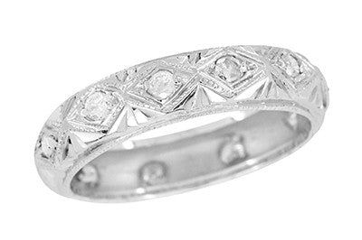 Antique Southbury Art Deco Filigree Geometric Engraved Diamond Wedding Band in Platinum - Size 6 1/2