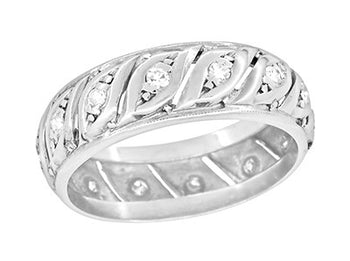 Chaplin 1950's Mid Century Filigree Antique Scrolls & Diamonds Platinum Wide Wedding Band - Size 6 1/2