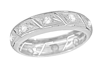Platinum Art Deco Glastonbury Vintage Diamond Wedding Band - Size 6 1/2