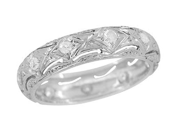 Art Deco Nichols Filigree Engraved Antique Diamond Wedding Band in Platinum - Size 6.5 | 4.9mm Wide