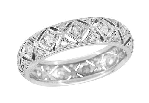 Art Deco Newington Diamond Antique Filigree Wedding Band in Platinum - Size 6 1/2