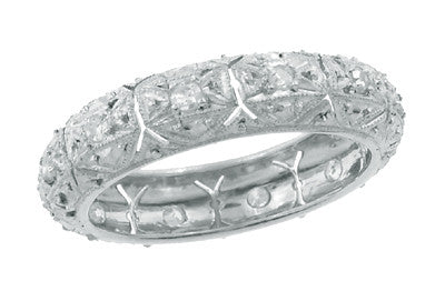 Art Deco Vintage Saugatuck Diamond Wedding Band in Platinum - Size 7