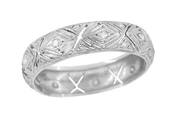 Art Deco Taconic Filigree Antique Diamond Platinum Wedding Band - Size 7