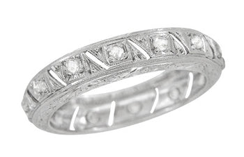Art Deco Canterbury Antique Engraved Diamond Wedding Band in Platinum - Size 7