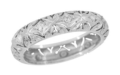 Coventry Edwardian Floral Filigree Vintage Single Cut Diamond Platinum Wedding Band - Size 7 - R1033