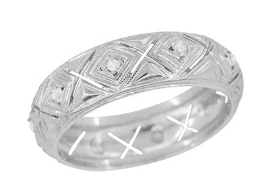 Oakville Art Deco Vintage Rose Cut Diamond Wedding Band in Platinum - Size 7