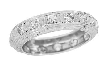 Antique Milford Filigree Engraved Art Deco Diamond Wedding Band in Platinum - Size 7 1/4