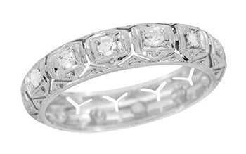 Danielson Filigree Diamond Art Deco Vintage Platinum Wedding Band - Size 9 1/2