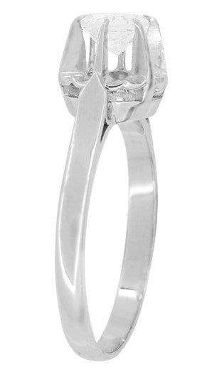Retro Moderne Buttercup Vintage Diamond Engagement Ring in Platinum - Item: R1046 - Image: 1
