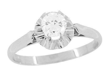 Retro Moderne Buttercup Vintage Diamond Engagement Ring in Platinum