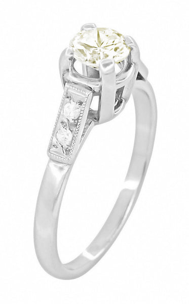 Comstock 0.45 Carat Faint Yellow Diamond Vintage Engagement Ring in Platinum - Item: R1047 - Image: 1