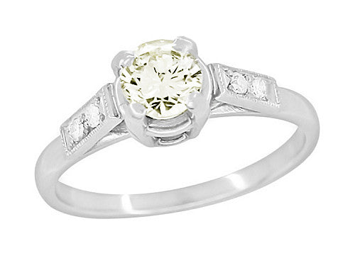 Comstock 0.45 Carat Faint Yellow Diamond Vintage Engagement Ring in Platinum