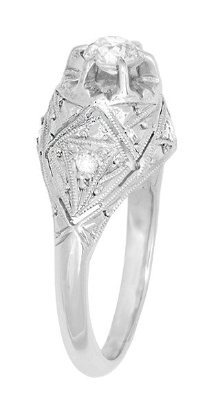 Filigree Ridgebury Vintage Art Deco Old Mine Cut Diamond Platinum Engagement Ring - Item: R1048 - Image: 2
