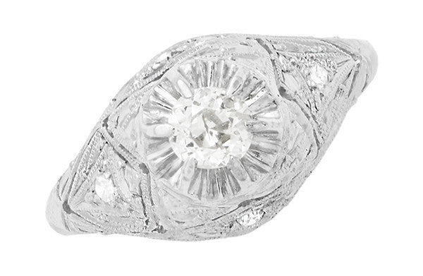 Filigree Ridgebury Vintage Art Deco Old Mine Cut Diamond Platinum Engagement Ring - Item: R1048 - Image: 4