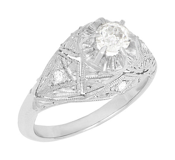 Filigree Ridgebury Vintage Art Deco Old Mine Cut Diamond Platinum Engagement Ring - Item: R1048 - Image: 1