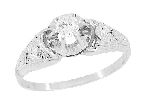 Art Deco Engraved Vintage Diamond Engagement Ring in Platinum