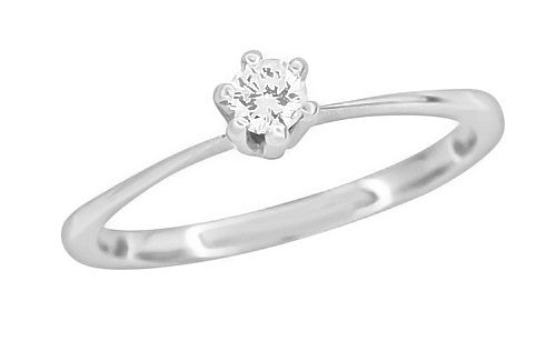 Mid Century Vintage 1960's Solitaire High Set Diamond Engagement Ring in Platinum - Item: R1050 - Image: 1