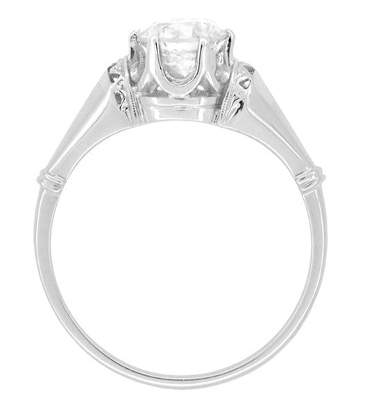 Retro Moderne Solitaire Crown 3/4 Carat White Sapphire Vintage Engagement Ring in Platinum - Item: R1053 - Image: 3