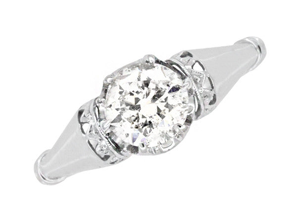 Retro Moderne Solitaire Crown 3/4 Carat White Sapphire Vintage Engagement Ring in Platinum - Item: R1053 - Image: 4