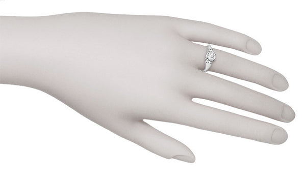 Retro Moderne Solitaire Crown 3/4 Carat White Sapphire Vintage Engagement Ring in Platinum - Item: R1053 - Image: 5