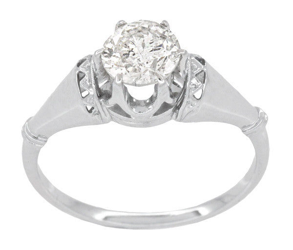 Retro Moderne Solitaire Crown 3/4 Carat White Sapphire Vintage Engagement Ring in Platinum - Item: R1053 - Image: 1