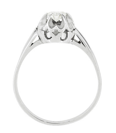 Buttercup Old Mine Cut Diamond Antique 14 Karat White Gold Engagement Ring - Item: R1054 - Image: 2