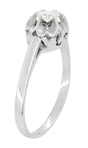Buttercup Old Mine Cut Diamond Antique 14 Karat White Gold Engagement Ring - Item: R1054 - Image: 1