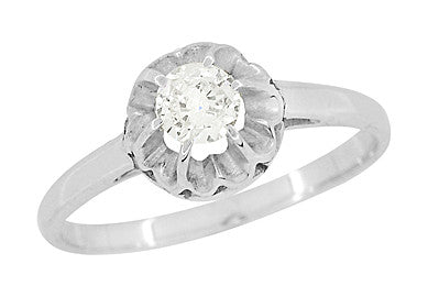Buttercup Old Mine Cut Diamond Antique 14 Karat White Gold Engagement Ring