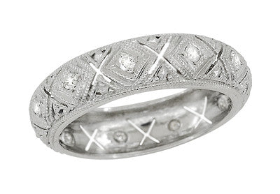 Newent Art Deco Single Cut Diamond Vintage Wedding Band - Platinum - Size 5