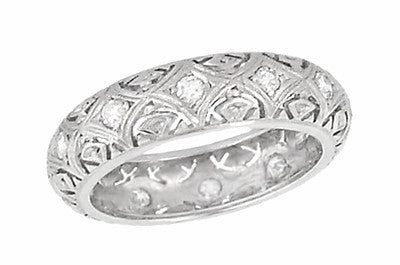 Art Deco Bradleyville Vintage Platinum Diamond Wedding Band - Size 4.75