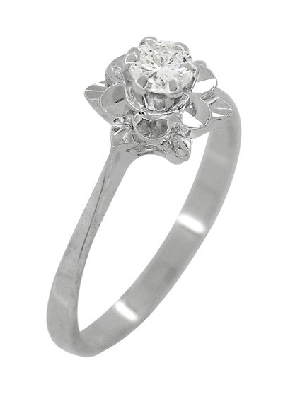 Buttercup Flower Antique Diamond Engagement Ring in 18 Karat White Gold - Item: R1061 - Image: 2