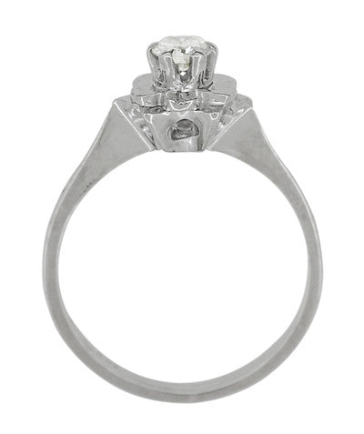 Buttercup Flower Antique Diamond Engagement Ring in 18 Karat White Gold - Item: R1061 - Image: 4