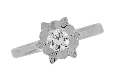 Buttercup Flower Antique Diamond Engagement Ring in 18 Karat White Gold - Item: R1061 - Image: 1