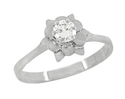 Buttercup Flower Antique Diamond Engagement Ring in 18 Karat White Gold