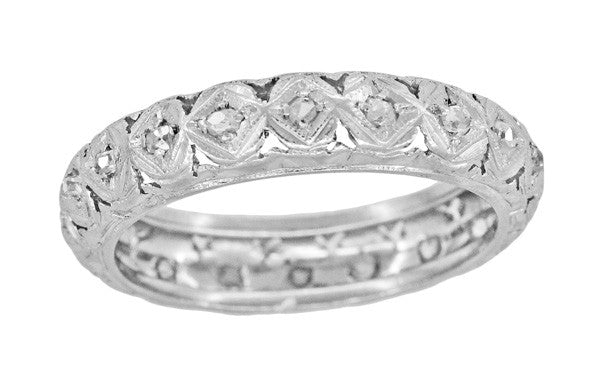 Fabyan Art Deco Estate Rose Cut Diamond Wedding Ring in Platinum - Size 5.75